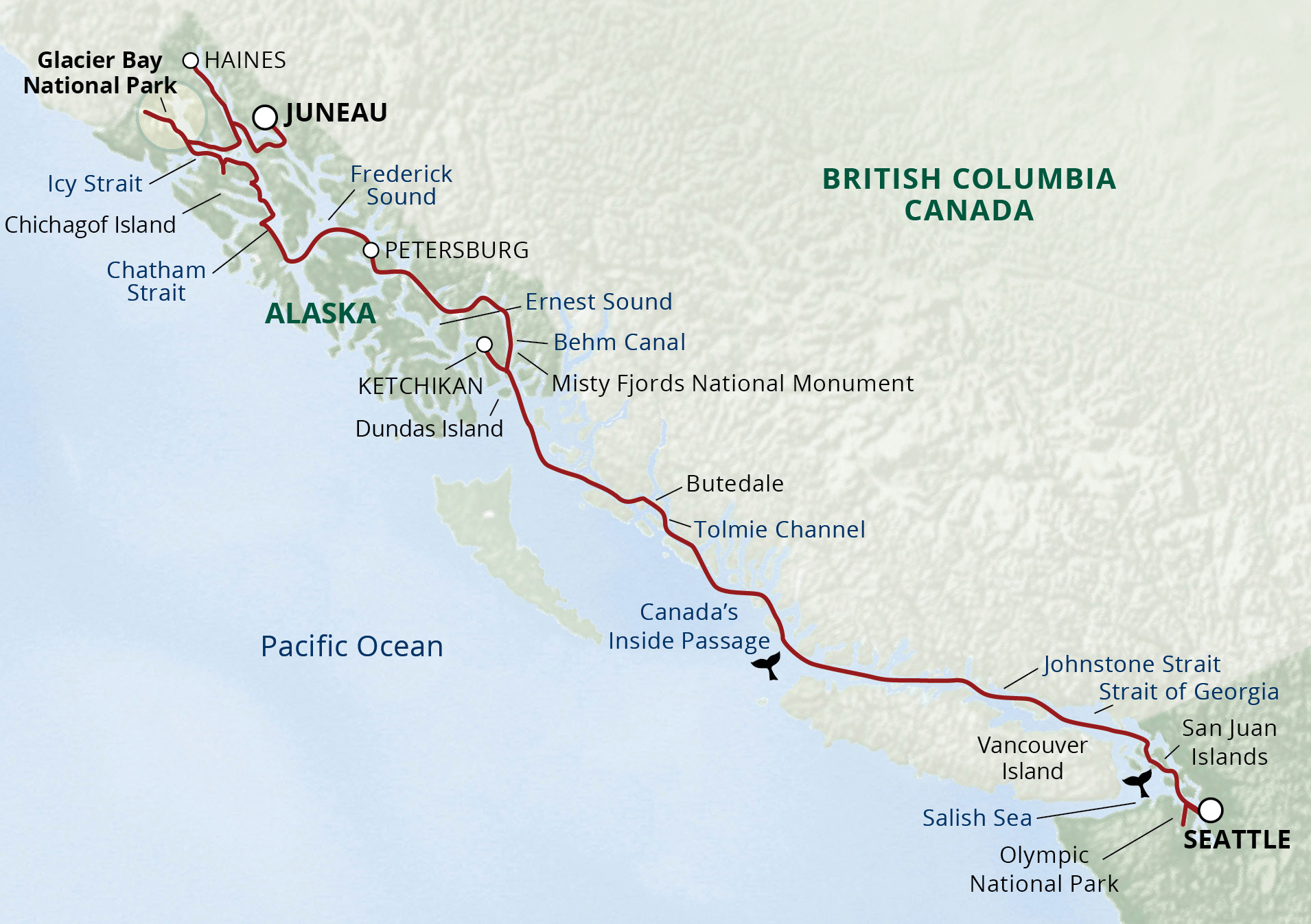 Alaska's Inside Passage & San Juan Cruise map
