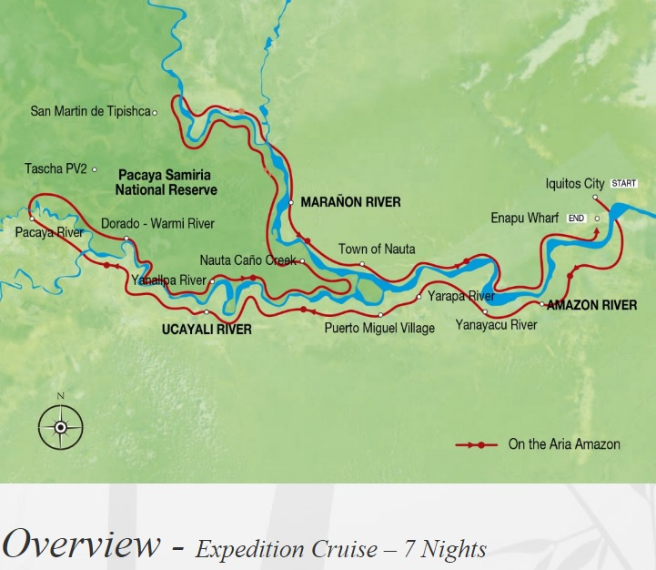 Luxury Amazon Cruises: Aria Amazon map