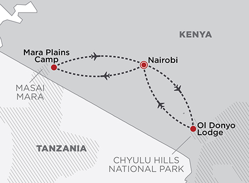 Amboseli & the Masai Mara Fly-in Safari map