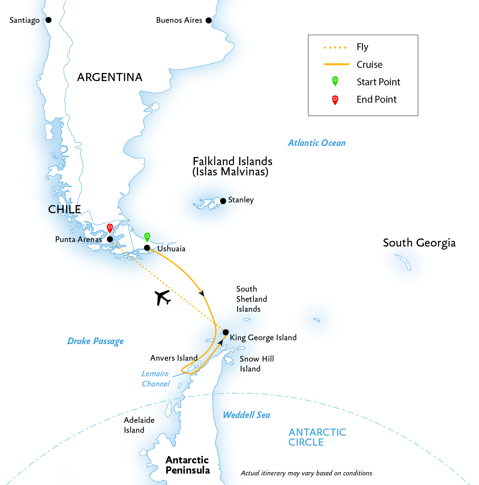 Antarctic Express Cruise South, Fly North map