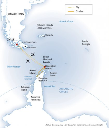 Antarctic Fly Cruise map