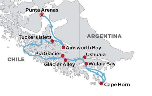 Australis Cruising in Patagonia map