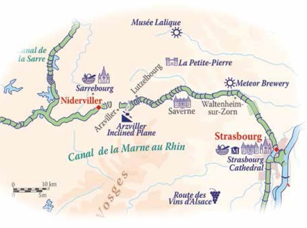Barging the Canal de la Marne au Rhin  map