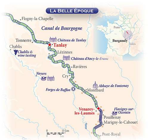 Barging the Upper Burgundy  map