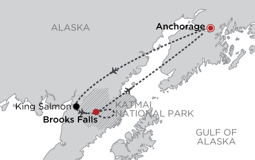 Bear Viewing at Brooks Lodge, Katmai National Park map