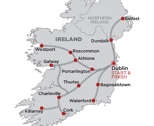 Belmond Grand Hibernian - Ireland map