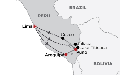 Belmond: Spirit of the Andes map