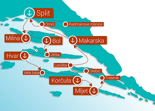 Bike and Cruise Croatia map