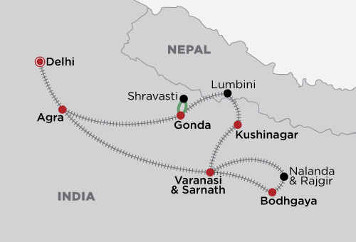 Buddhist Highlights by Train map