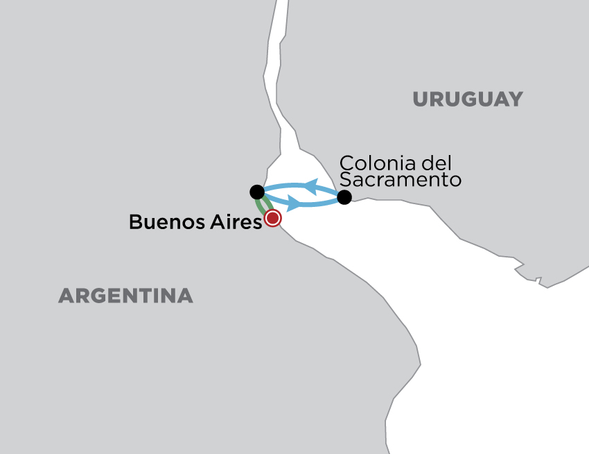 Buenos Aires & Colonia  map