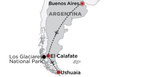 Buenos Aires & Patagonia map
