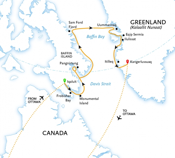 Canada to Greenland Baffin Bay Explorer map