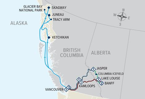 Canadian Rockies Getaway Circle with Pre Alaska Cruise ms Nieuw Amsterdam map