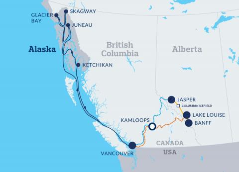Canadian Rockies Getaway Circle with Post Alaska Cruise ms Volendam map