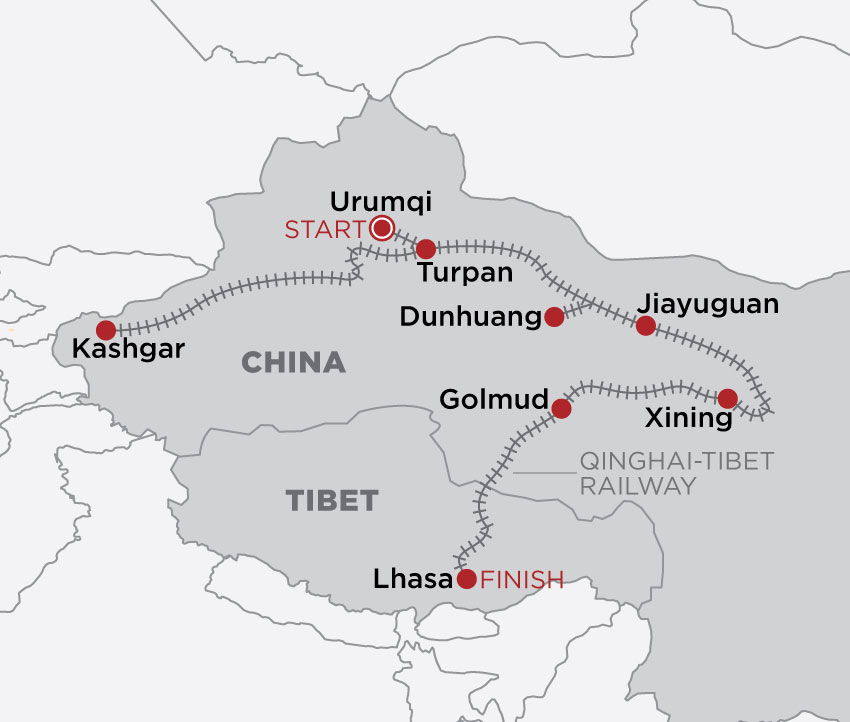China & Tibet Rail Discovery map