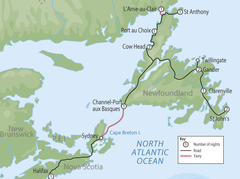 Circle Newfoundland & Labrador Tour map