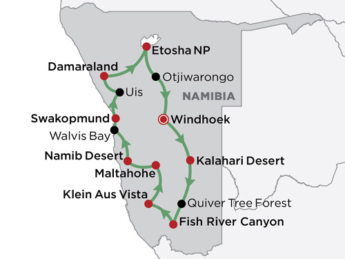 Classic Namibia map