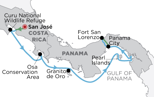 Costa Rica & Panama map