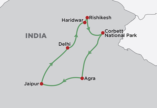 Golden Triangle and International Yoga Festival map