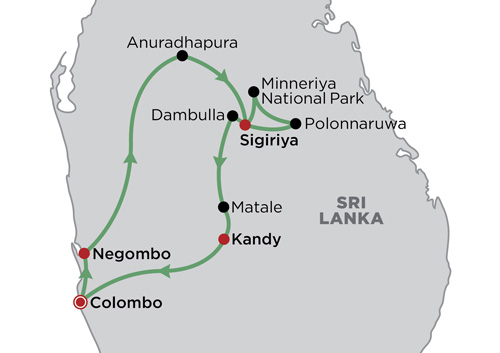 Cultural Triangle Sri Lanka map