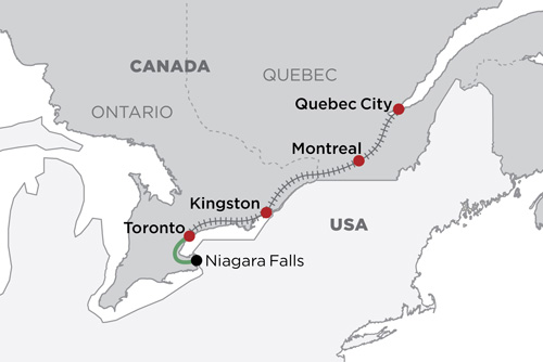 Eastern Canada by Rail map
