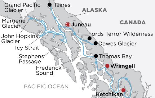 Eastern Fjords & Glacier Bay Cruise - Ultimate Expedition map