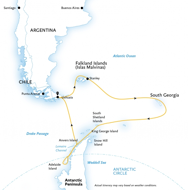 Epic Antarctica: Crossing the Circle via Falklands and South Georgia map