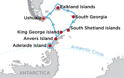 Epic Antarctica: Crossing the Circle via Falklands & South Georgia map
