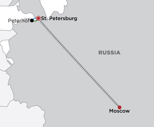 Explore Moscow & St. Petersburg map