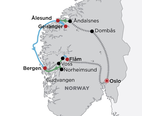 Fjords & Norway in a Nutshell  map