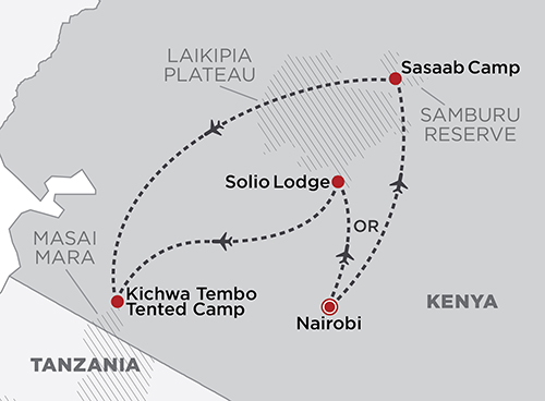 Fly around Kenya map