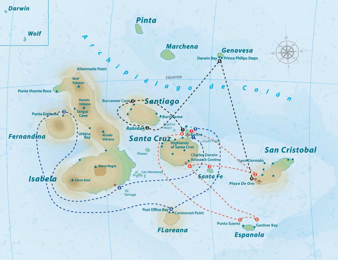 Galapagos Islands: Santa Cruz II map