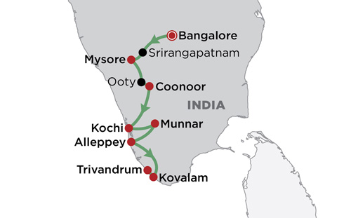 Gourmet South India map