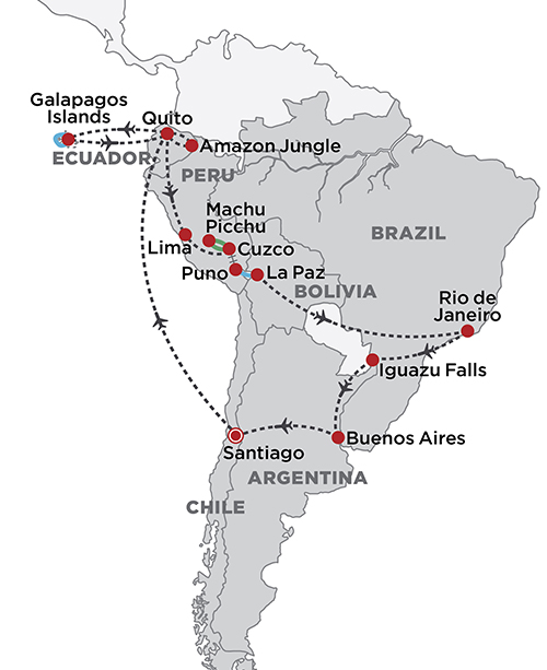 Grand Tour of South America 2019 map