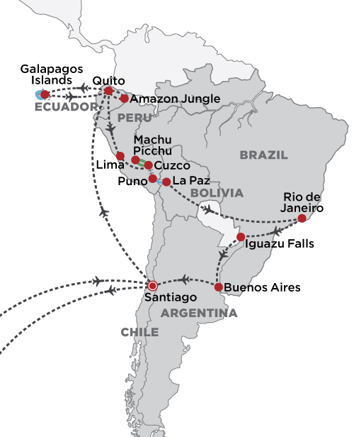 Grand Tour of South America 2020 map