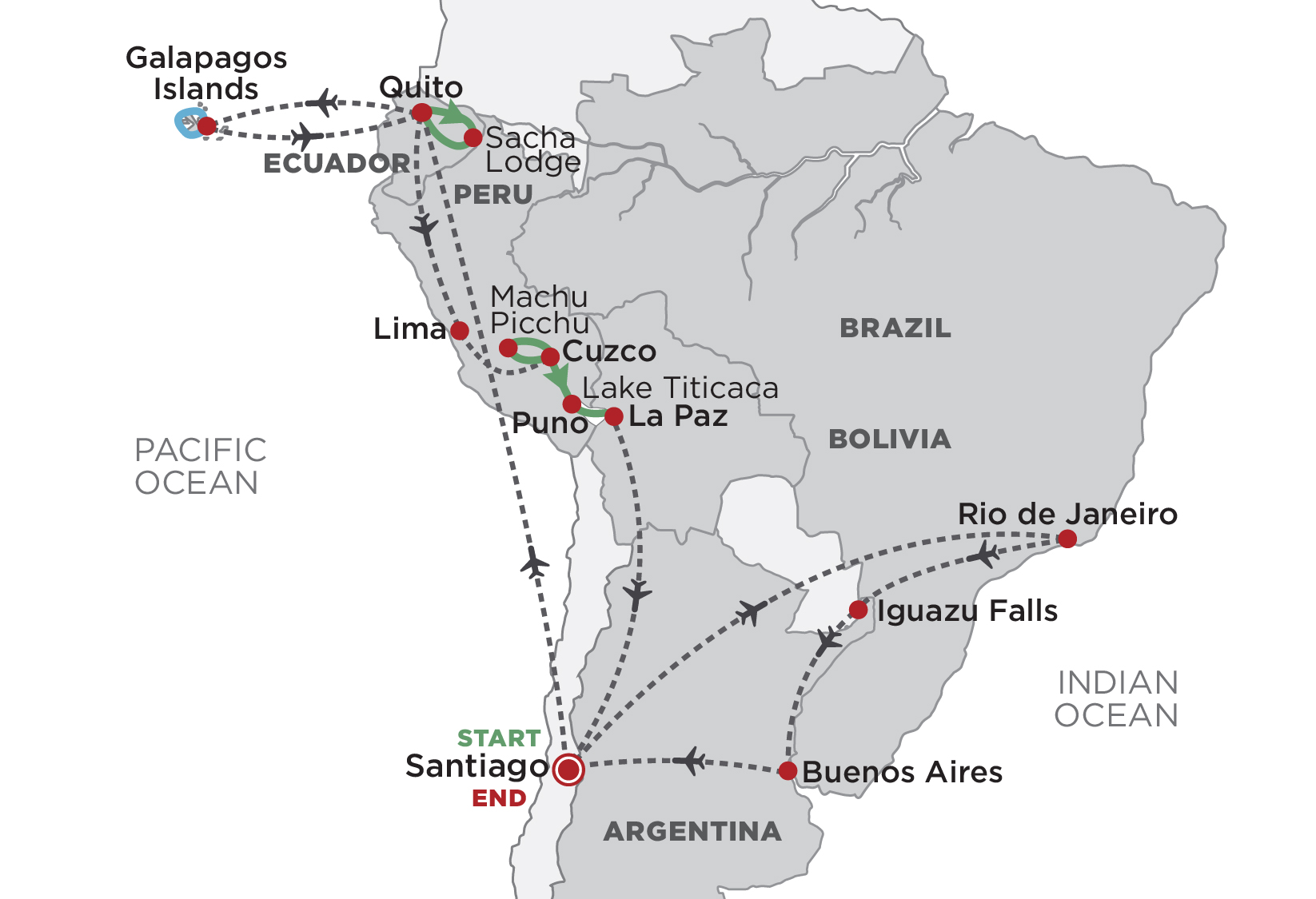 Grand Tour of South America map