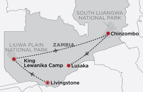 Great Parks of Zambia  map