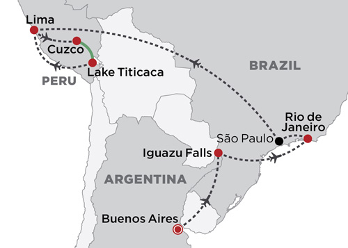 Highlights of South America map