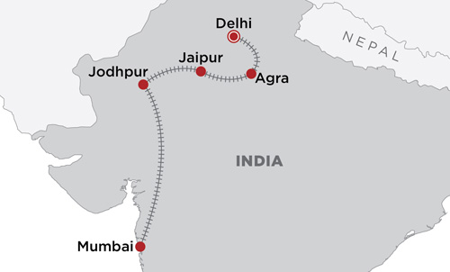 India By Train map