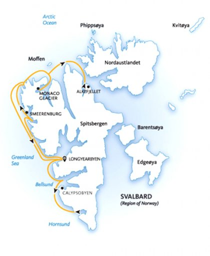 Introduction to Spitsbergen: Polar Bear Safari map