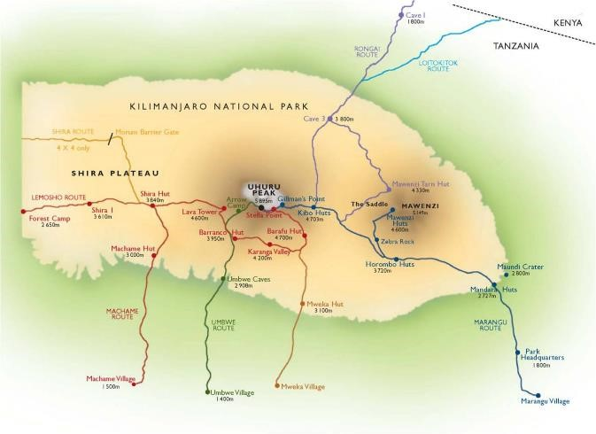 Kilimanjaro Trek - Machame Route  map