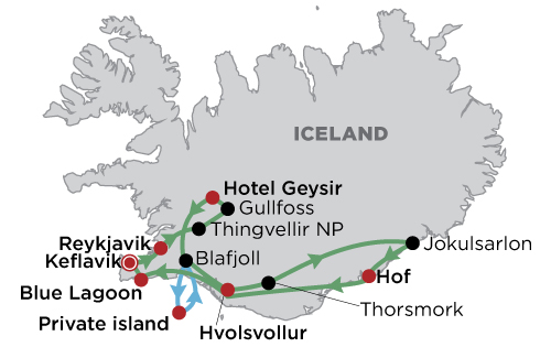 Luxury Iceland - Summer in Style map