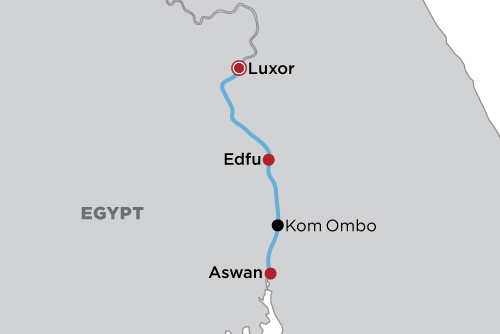 Luxury Nile Steam Cruise map