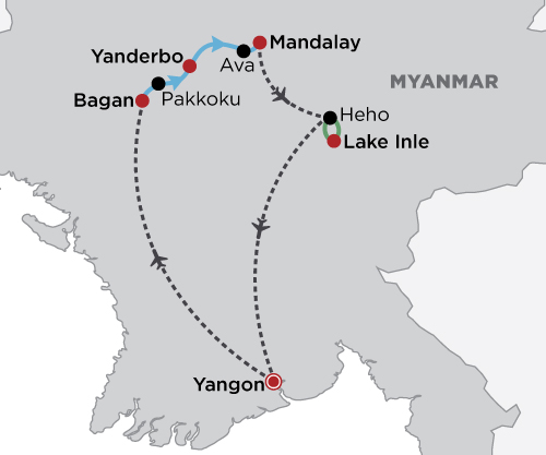 Myanmar's Ancient Highlights map
