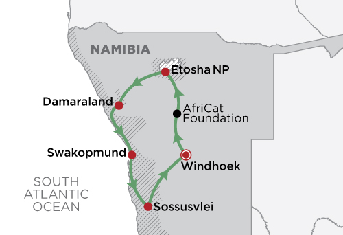 Namibia Under Canvas  map