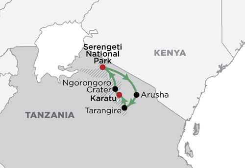 Ngorongoro & The Serengeti Private map