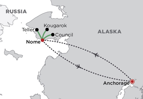 Nome and the Bering Land  Bridge map