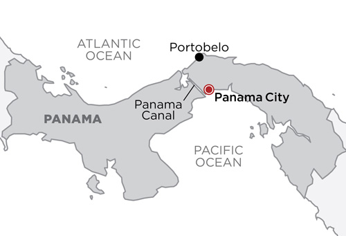 Panama, Pirates & The Canal map