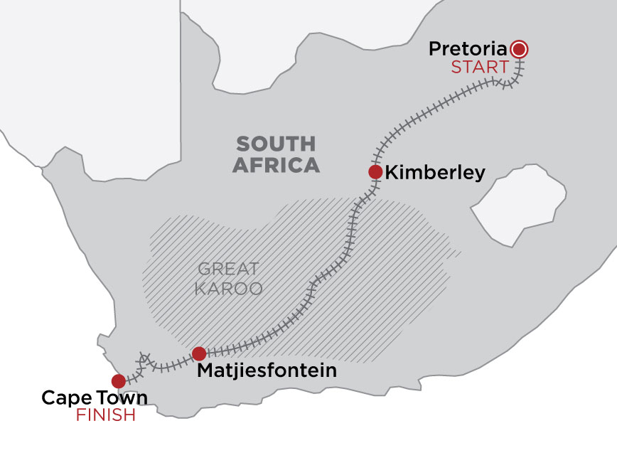 Rovos Rail: Pretoria to Cape Town map