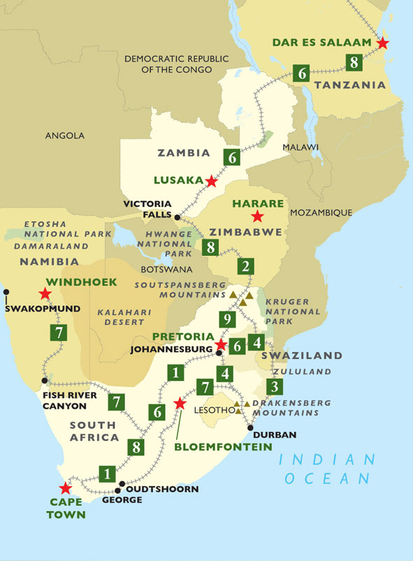 Rovos Rail: Great Rail Journeys of Africa map